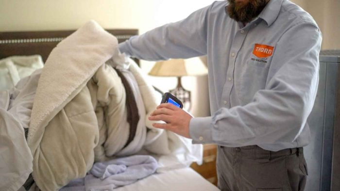 Bed bug professional using a heat sensor to check for tempts in a bundle of linens