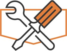 Orange outline of a shield with a cross of a wrench and screwdriver across the outline