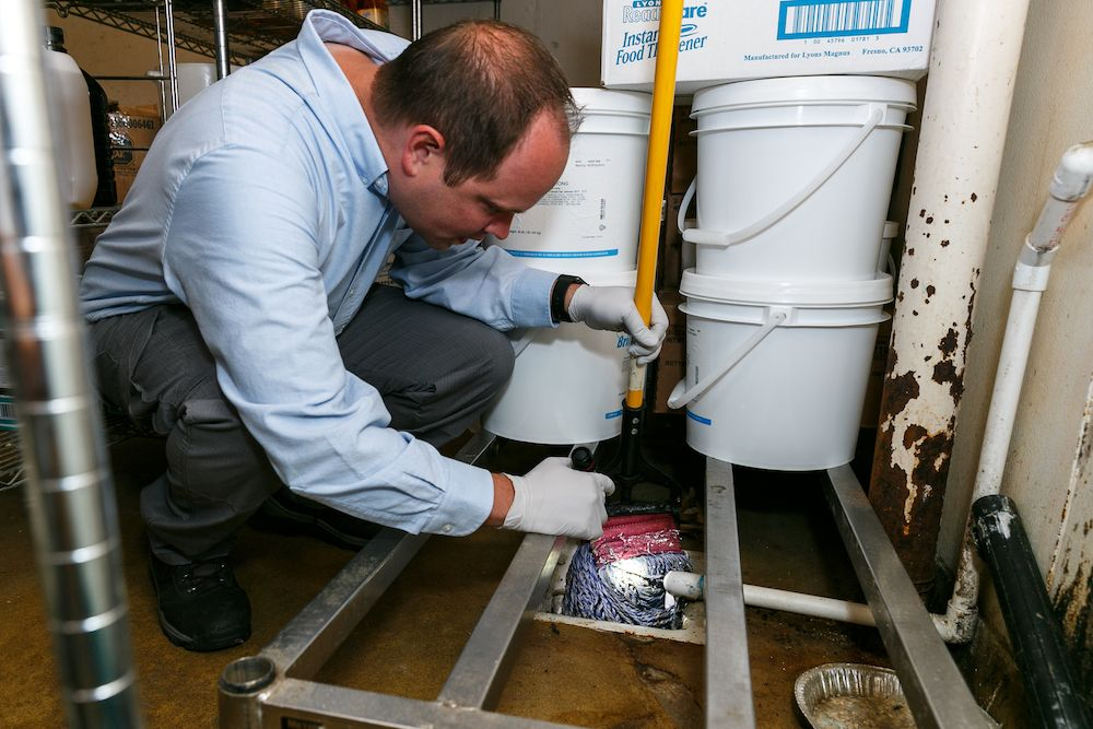 Thorn professional inspecting for pests in a drain area