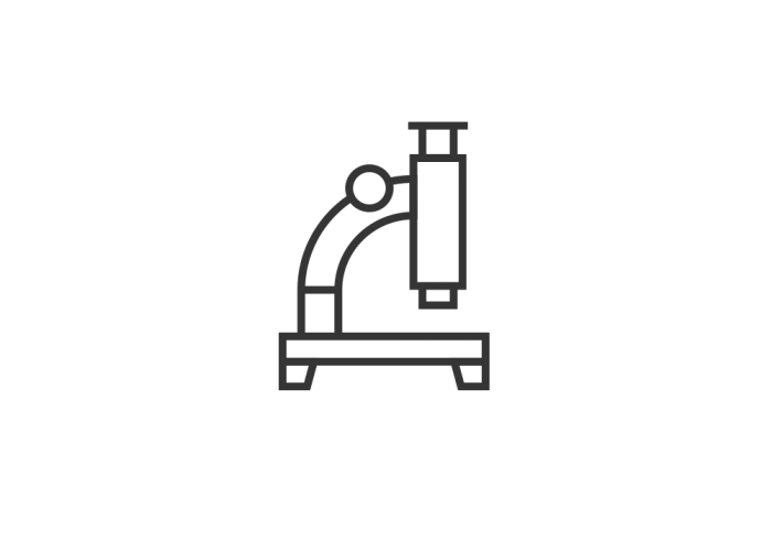 Black drawing of a microscope
